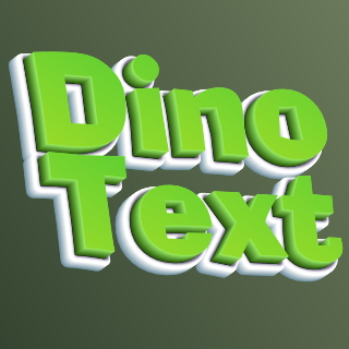 Cool inscription volumetric Dino text to create an online